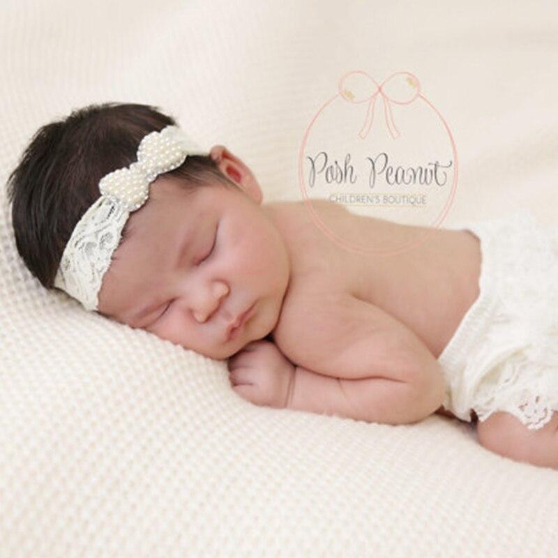 1 unids recién nacido cristal perlas arco con Encaje Bandas para la ...