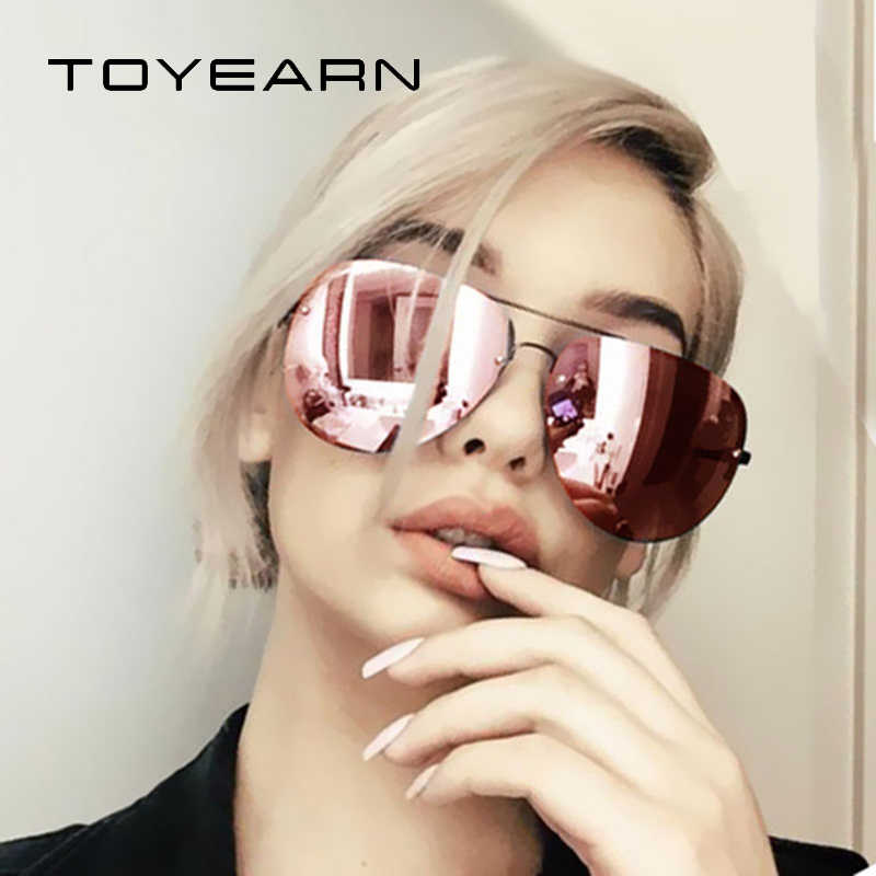 2019 New Fashion Brand Design Vintage Rimless Pilot Sunglasses Women Men Retro Clear Lens Coating Mirror Sun Glasses for Female