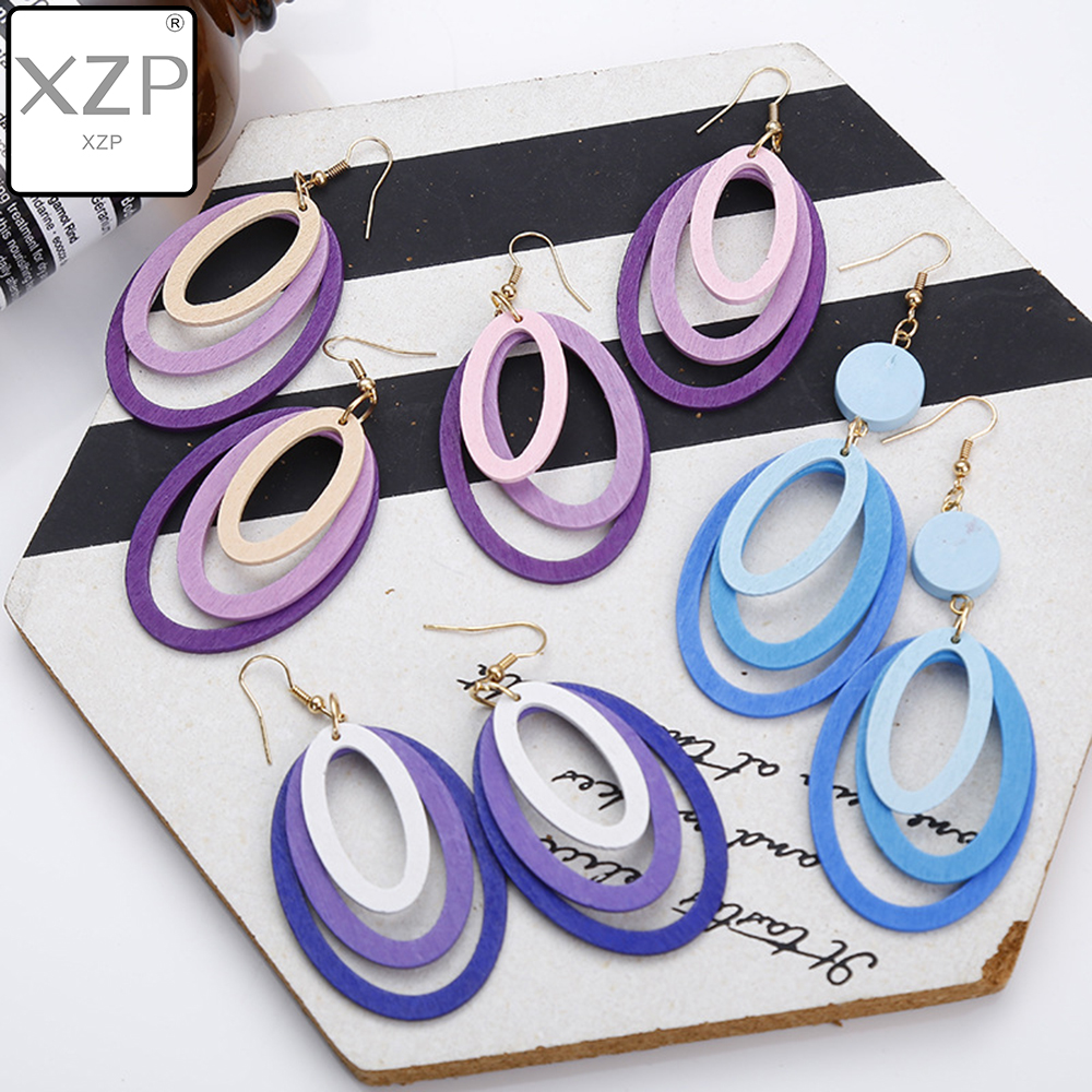 XZP Korean MuiltLayer Wood Drop Earrings For Women Gradient Blue Purple Geometric Round Oval Dangle Earrings Girls Jewelry Gift