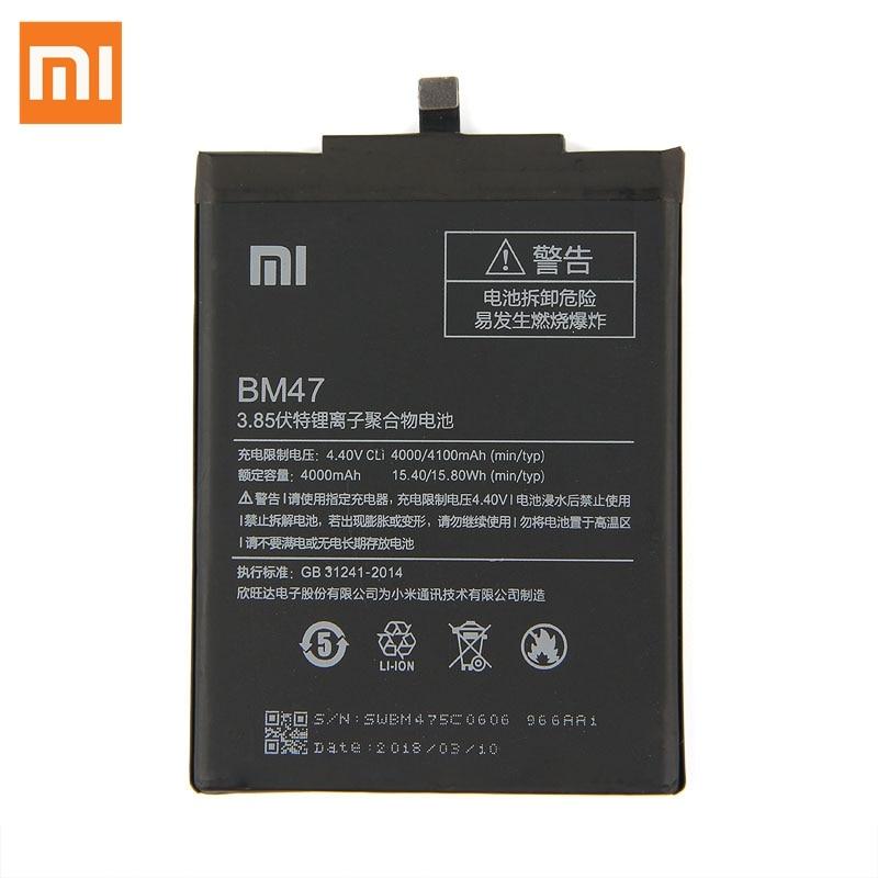 Original Replacement Battery For Xiaomi Redmi 3 3S 3X Redmi3 Pro Hongmi BM47 Genuine Phone Battery 4000mAh