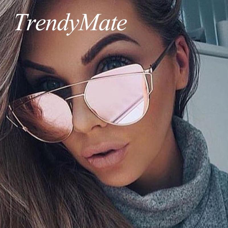 Hot 2017 New Cat Eye Sunglasses Women Brand Designer Fashion Twin-Beams Rose Gold Mirror Cateye Sun Glasses For Female UV400 195