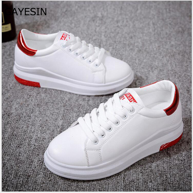 2018 autumn new fashion women shoes casual high platform hole PU leather Glossy simple women casual white shoes sneakers H13