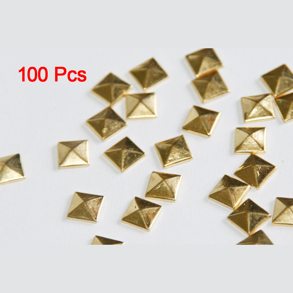 100 PCS 10mm DIY Punk Style Pyramid Studs Nailheads-Gold 10 shoes accessories