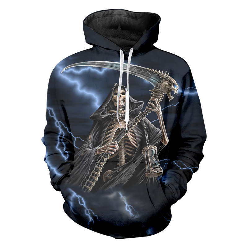 Jerwill Skeleton Printed Hip Hop Sweatshirts Hoodies Men Casual Sweats