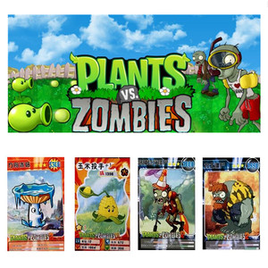 60 pcs/lot Plants vs Zombies Cards Plants Zombies Action Figures Collect Card Pea Shooter Sunflower Trading Card Kid Gift Toy