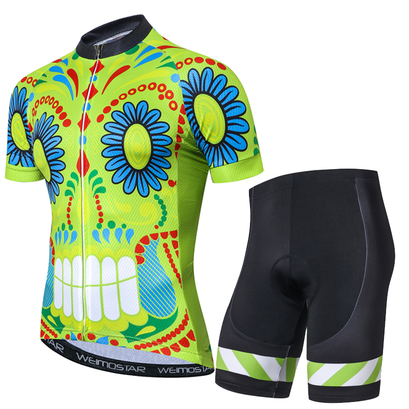 1242c10c0 Cycling Jersey Short Sleeve Men MTB Bike Shirt Top Clothing Youth Road Bicycle  Shorts Padded Set Outfit Skull Black White Green