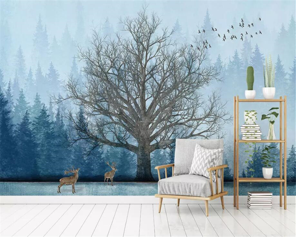 Us 885 41 Offbeibehang Foto Kustom Wallpaper Lukisan Abstrak Digambar Tangan Hutan Pohon Besar Elk Rumah Modern Dinding Latar Belakang 3d