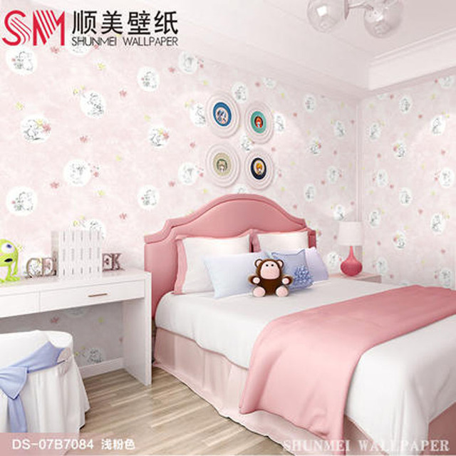 Girl bedroom pink wallpaper children cute cartoon wallpaper ...
