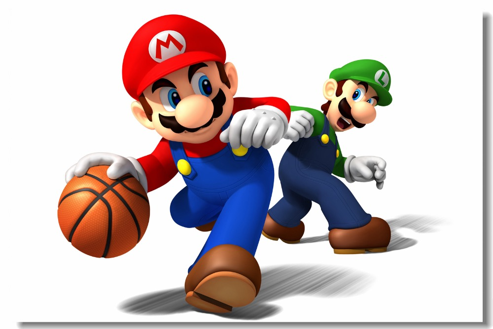 Us 799 Custom Canvas Wall Decals Super Smash Bros Poster Mario Luigi Basketball Game Wallpaper Kids Bedroom Wall Stickers Mural 0481 In Wall