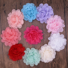 60pcs/lot 4 Inch Large Fabric Rosettes Lace Chiffon Organza Flower For Girls Headband  Mesh Tulle Flower Accessories