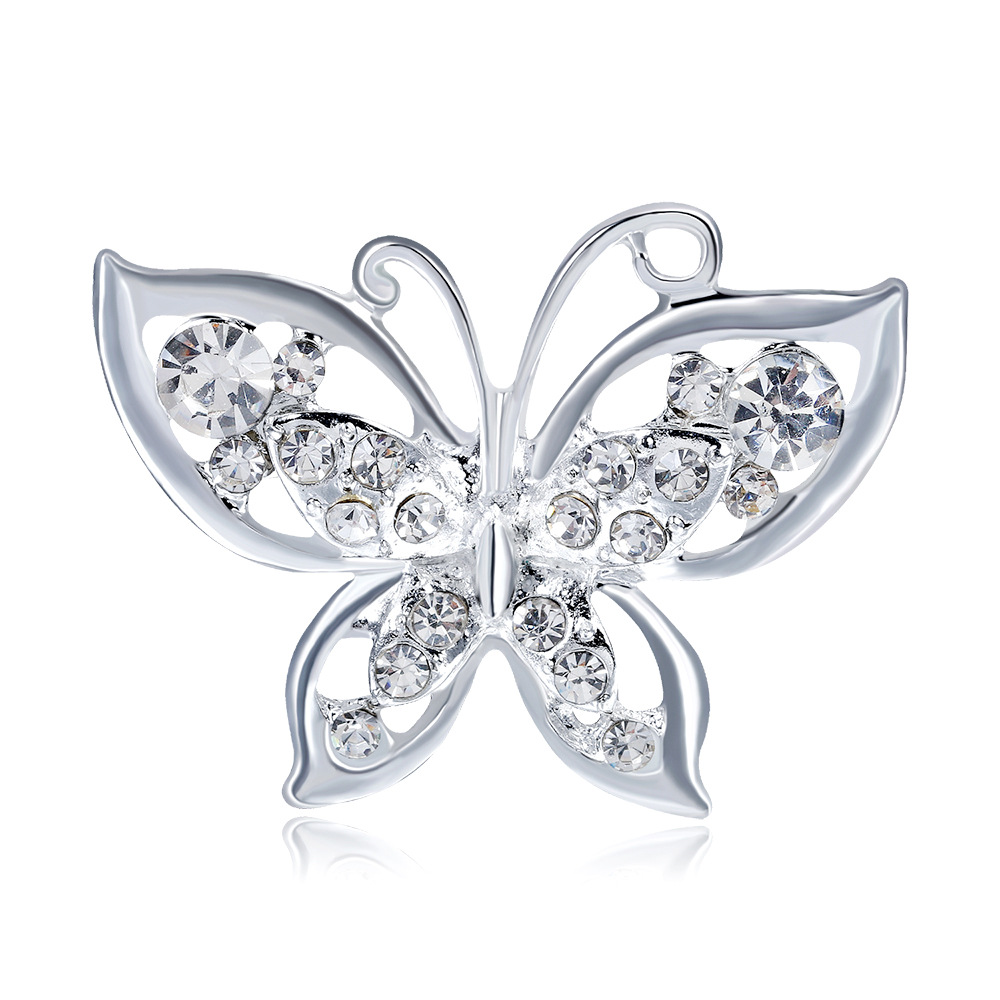WYSIWYG Brooches Butterfly High Quality Rhinestones Crystal Animal Insect Brooches Pins Women Fashion Butterfly Brooch