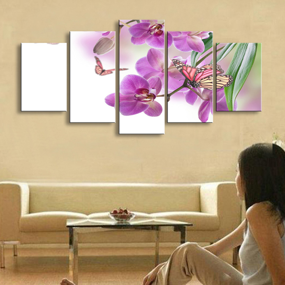 Print Pictures Painting Wall Art Modular Poster 5 Panel Butterflies ...