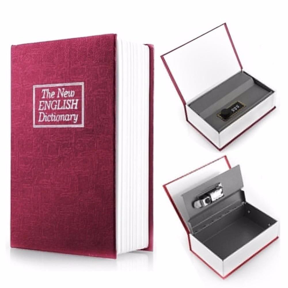 Small size money piggy bank key locked book mini money box for Home money box
