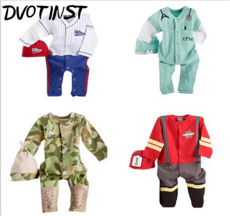 Baby Boys Clothes Full Sleeves Baseball Fireman Army Doctor Cosplay Rompers+Hat Outfits Infant Toddler Jumpsuit Clothing Costume baby rompers one piece newborn toddler outfits baby boys clothes little girl jumpsuit kids costume baby clothing roupas infantil