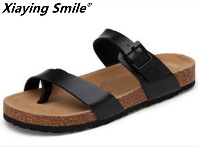 Xiaying Smile Genuine Leather Summer Sandals Classics Buckle Beach Shoes Fashion Casual Pinch Toe Soft Flat Slippers Comfortable