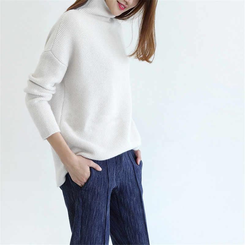 2018 새로운 스웨터 여성 순수 캐시미어 풀 오버 루스 버전 유형 여성 캐주얼 따뜻한 스웨터 겨울 두꺼운 풀 오버