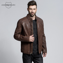 ANDREW MARC 2016 Genuine Cowskin Men's Leather Jackets Coat Slim 100% Leather Motorcycle Biker Jacket S-XXL TM6A1107