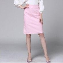 Women Leather Skirt 2019 Autumn Winter New Sexy Pencil leather Skirts Zipper Medium Long Skirts Womens Pink Black S-XL