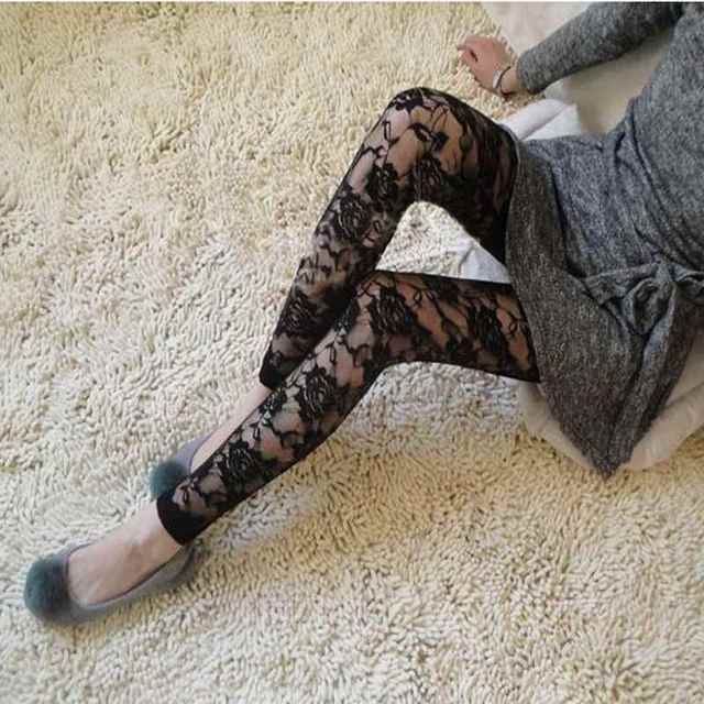 e2c16238199 New Popular Charming stocking Black Rose Lace Leggings for Pretty Women and  Girls High Quality