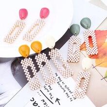 HOCOLE Bohemian Pearl Earrings For Women Long Geometric Statement Drop Earring Unique Jewelry Wedding Bridal Gift 2019