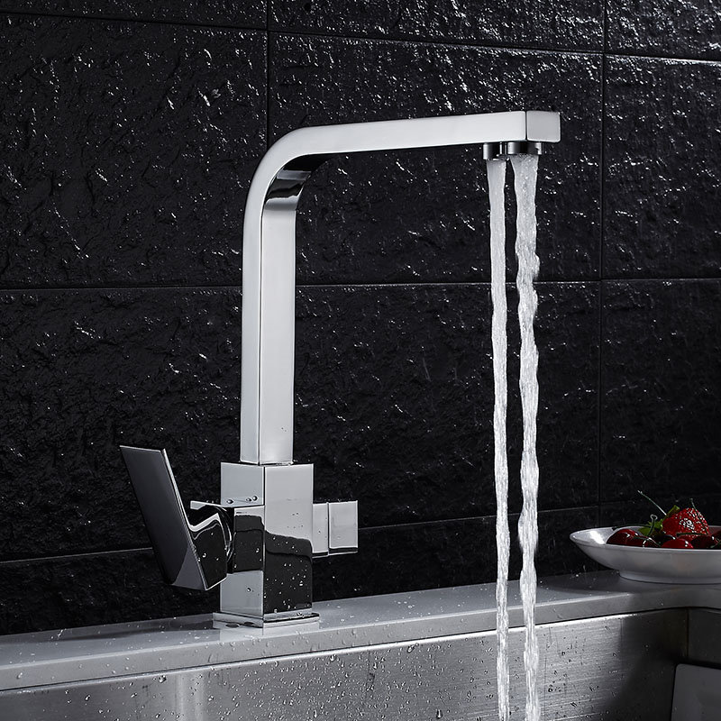 Kitchen Faucet Dual Function 3 Way Water Filter Chrome Kitchen Faucet Marble Pure Water Kitchen Faucet Filler Tap Torneira us free shipping dual handles kitchen mixer tap faucet pure water filter chrome finish