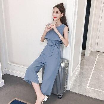 Korean Style 2019 New Women Jumpsuits High Waist Wide-leg Woman Bodysuit  Rompers Womens Jumpsuit Combinaison Femme