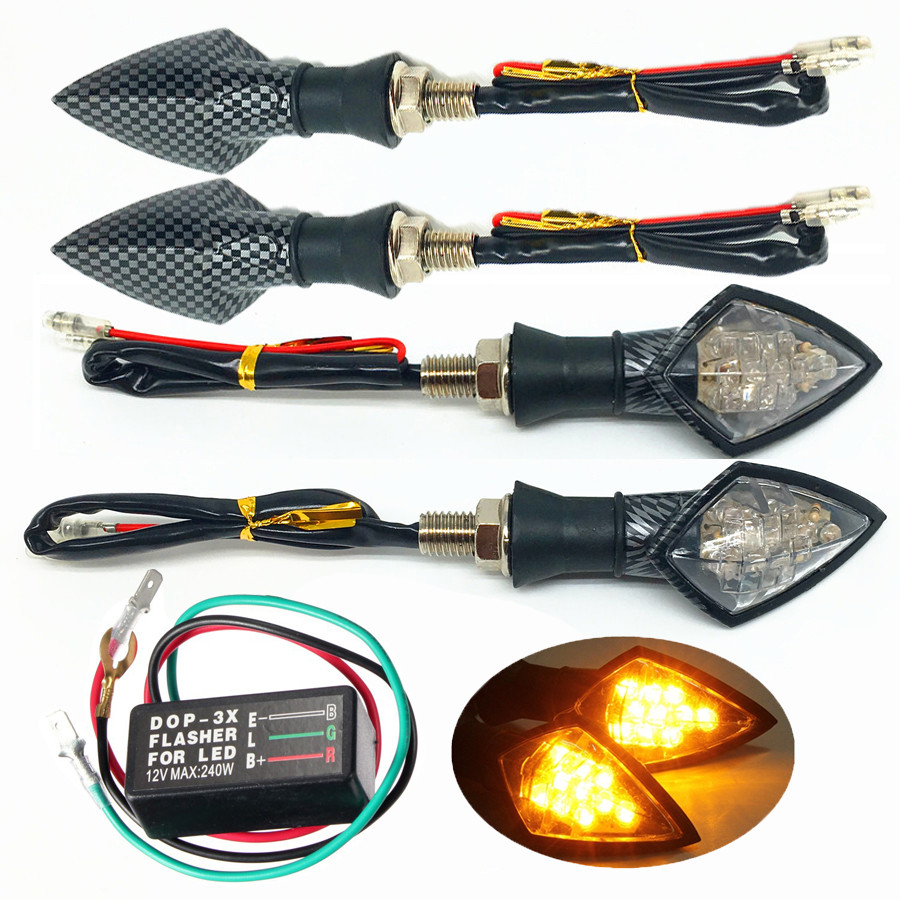 4PCS 10 LED Universal Motorcycle Turn Signal Indicator Light + Flasher Relay Convenience Fashion 17Sept19