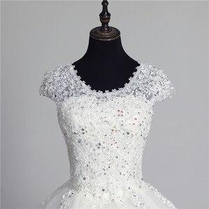Image 4 - 100% foto real em estoque moda laço flor querida fora do branco sexy vestido de casamento muçulmano para noivas vintage applique lantejoulas