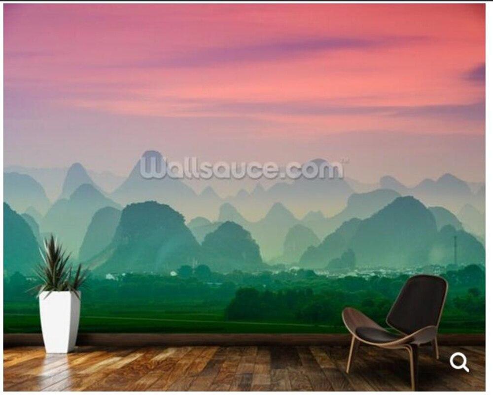 大中国の壁紙 カルスト山脈の桂林 自然風景写真壁画用リビングルーム