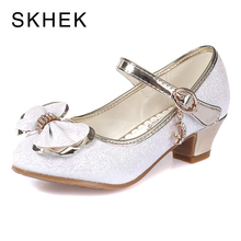 SKHEK Summer Girls Shoes Princess Sandals Kids Sandals High Heel Shoes For Girl Bow Knot Party Wedding Children Shoe White Pink girls pink lolita shoes cosplay shoes 5cm high heel pu bow pink shoes sy 2374