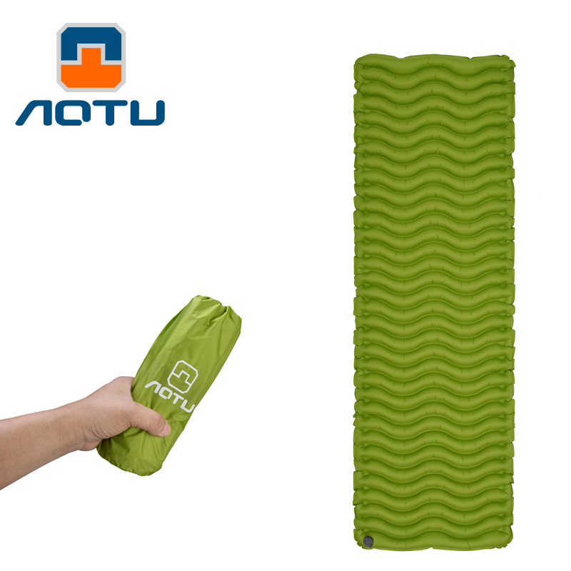 1 person outdoor camping mat sleeping pad inflatable hiking camping mat ultralight Air sleeping pad thermal blanket mattress in Camping Mat from Sports Entertainment