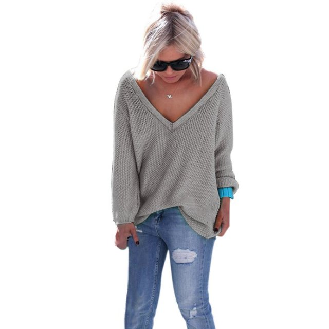 Aliexpress.com : Buy Women Loose V Neck Knit Sweater Long Sleeve ...