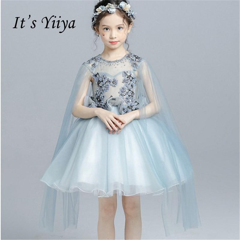 It's yiiya O-neck Illusion Zipper Shawl Quality Ruffles Child Cloth Kid   Flower     Girl     Dresses   For Party Wedding   Girl     Dress   S026