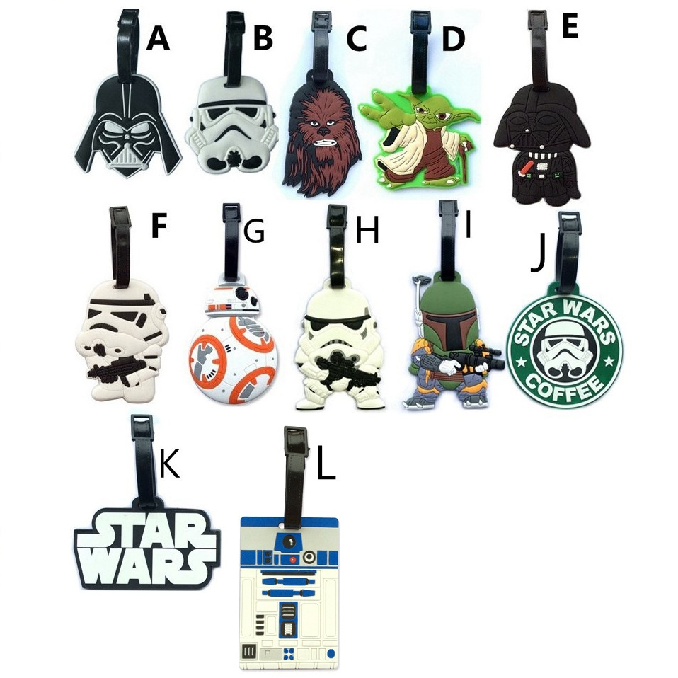 Disney Star Wars Luggage Tap BB8 Toys Set Force Awaken BB-8 Boba Fett Chewbacca Darth Vador Clone Trooper Yoda Bag Decoration