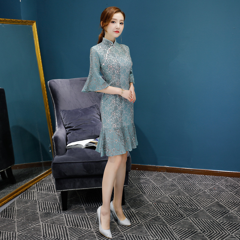 e31651a1 New Arrival Chinese Traditional Women Lace Dress Elegant Butterfly Sleeve  Qipao Mandarin Collar Sheath Short Cheongsam 8062-in Dresses from Women's  Clothing ...