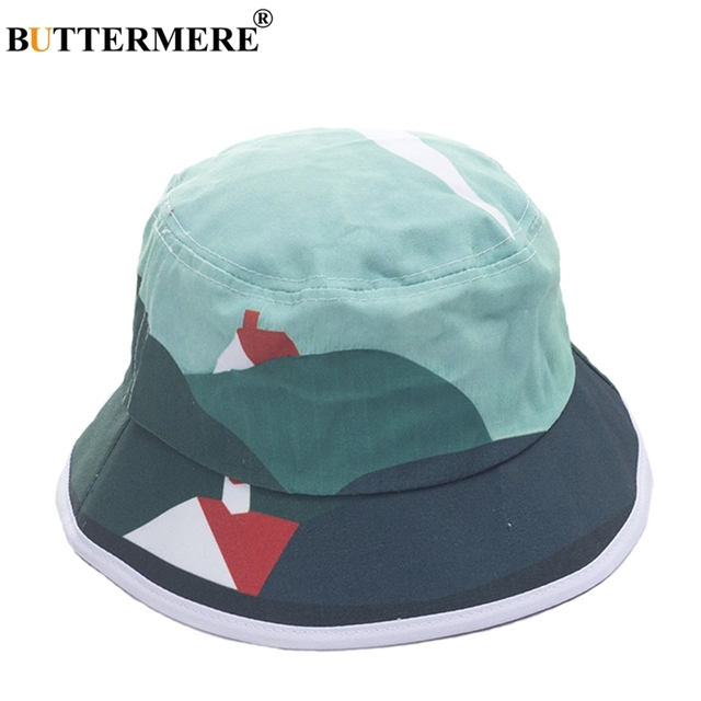 91c94be575c BUTTERMERE Women Cotton Bucket Hat Tie Dye Kawaii Casual Female Fisherman Hats  Beach Brand Fashionable Japanese