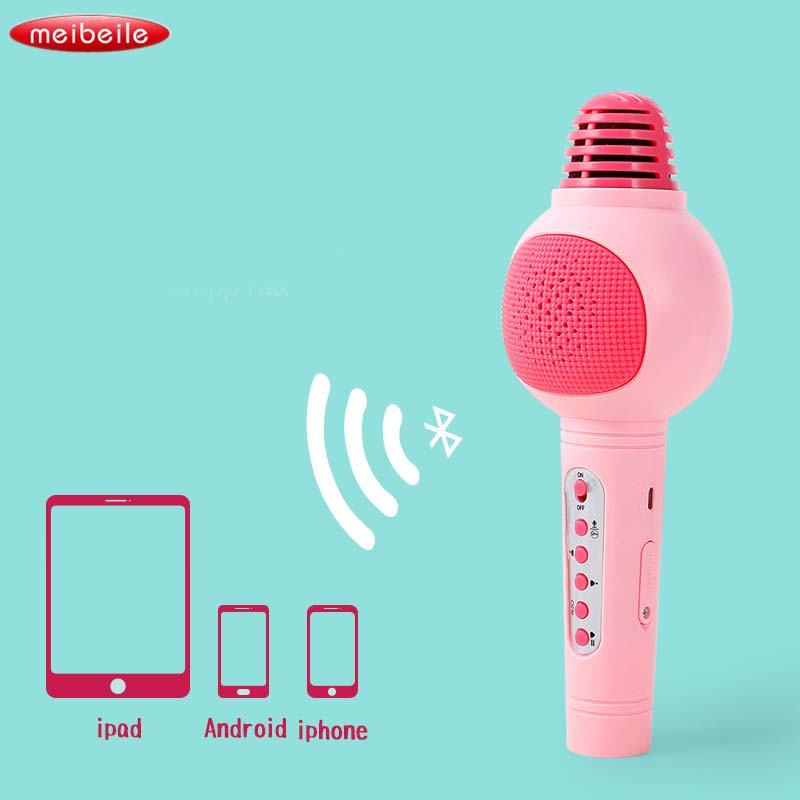 Kids Microphone Karaoke Portable Wireless Bluetooth Microphone With Speaker Music Playing Educational Toys musical instruments|Toy Phones| |  - title=