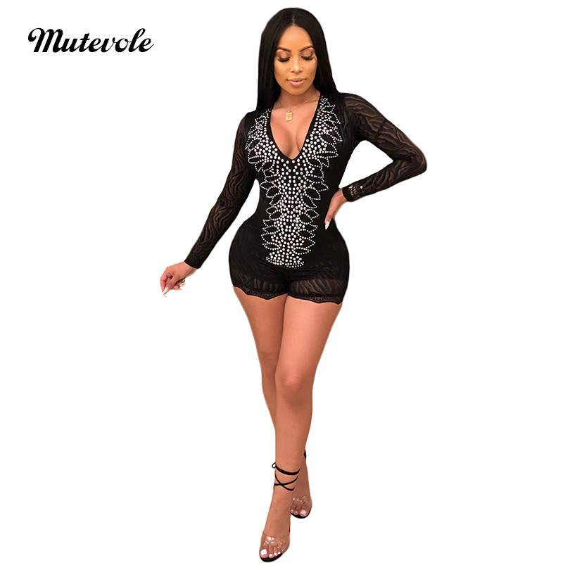 Mutevole Long Sleeve Romper Women Jumpsuit Deed V Neck Slim Sexy Party Lace Mesh Jumpsuit Beading Flocking Embellished Jumpsuit