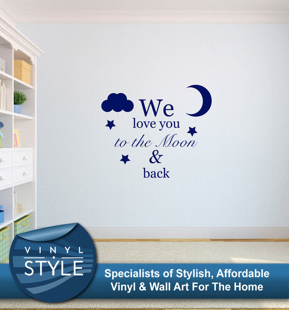 q041 we love you to the moon and back kids bedroom wall art sticker