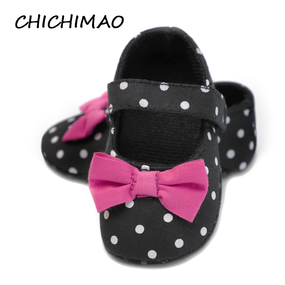 Infant Newborn Baby Shoes Girls Cotton Big Pink Bowknot With Polka Dot Non-slip Hook & Loop Shallow First Walkers