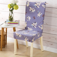 Plant Flower Print Spandex Stretch Big Elasticity Dining Chair Cover Restaurant Home Used Hotel Chair Cover