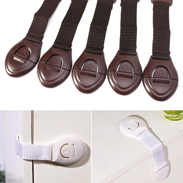 5pcs Baby Safety Drawer and Cabinet Lock Kids Proof Child Door Locks White Brown Cheap Stuff Newborn Protection Products