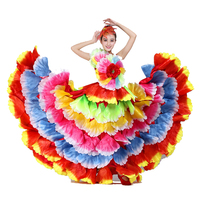 Flamenco Dance Custome Spanish Dance Dress Flower Petal Skirt Chorus Dance Clothes 360 540 Dropshipping