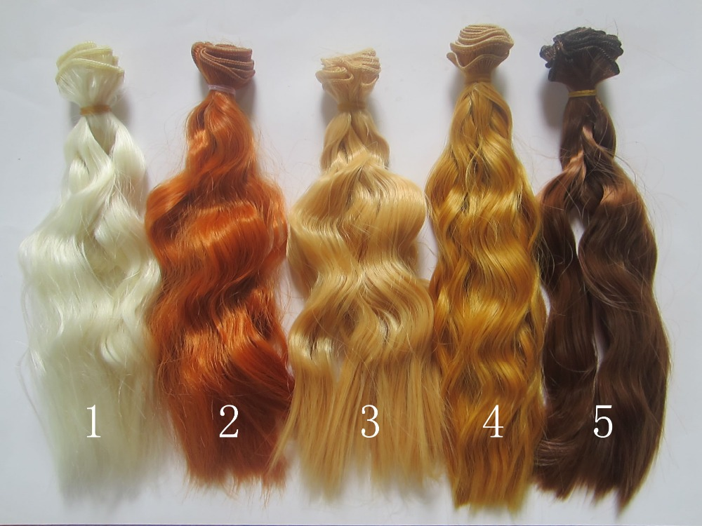 1pcs 20cm*100CM Khaki brown Wigs/Hair for dolls 1/3 1/4 BJD/SD diy Accessories for dolls 1 piece 15cm 100cm brown coffe black light gold color heat resistant curly wave wig hair for 1 3 1 4 bjd diy