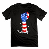Fashion Vintage Icon Brand New Summer Style Cotton Men Clothing American Fist Flag Design Hip Hop