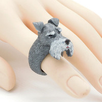 Cute Miniature Schnauzer Artificial Figure Ring Styling Dog Craft Decoration Birthday Gift Toy Puppy Pet Party
