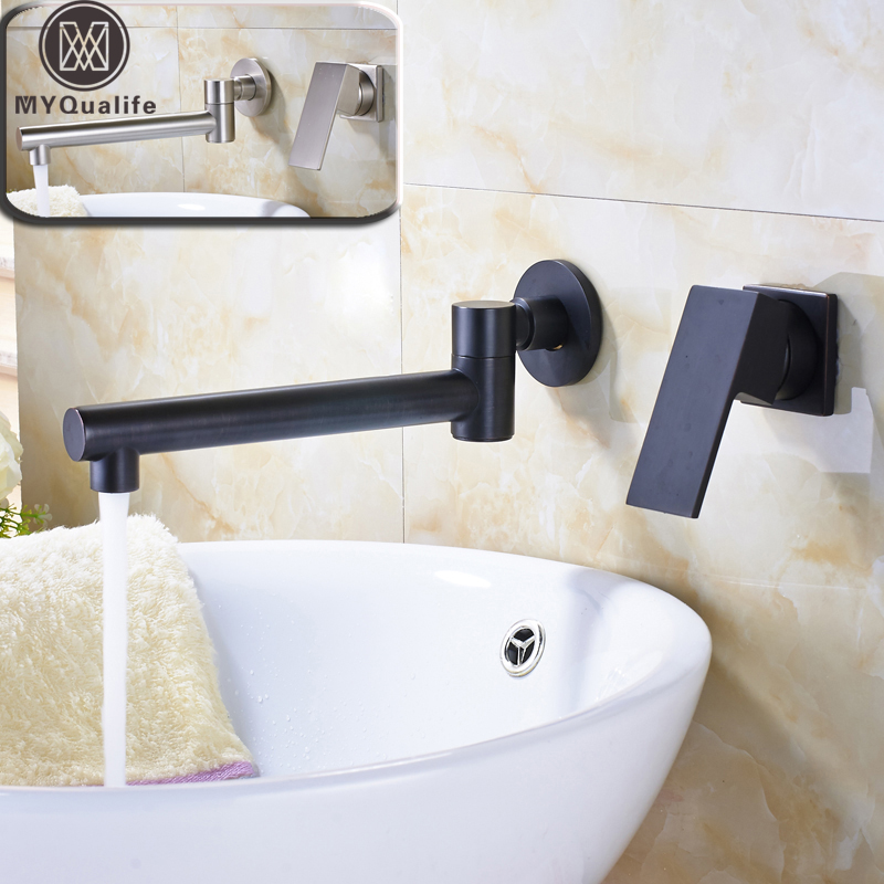 Роскошные вращение на 360 Ванная комната кран раковины настенного два отверстия Никель щеткой туалете раковина кран Одной ручкой