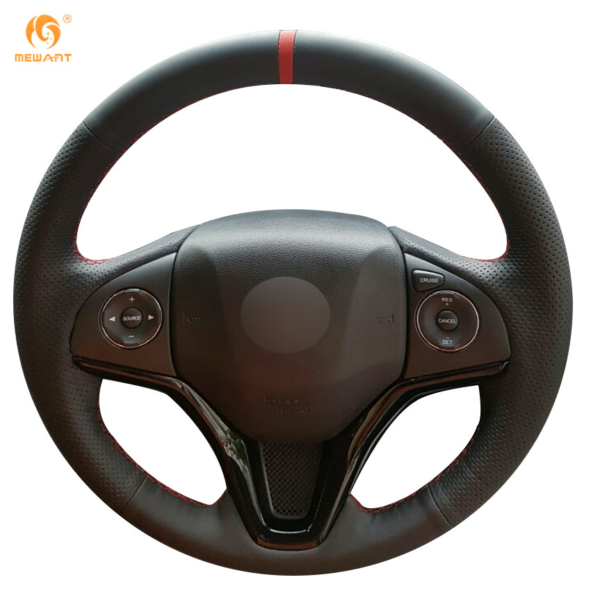MEWANT Black Genuine Leather Car Steering Wheel Cover for Honda New Fit City Jazz 2014 2015 HRV HR-V 2016 Vezel 2015-2017 diy hand stitched black red genuine leather car steering wheel cover for honda new fit city jazz 2014 2015 hrv hr v 2016