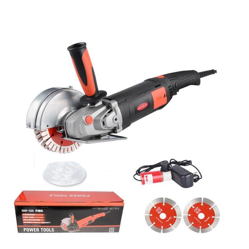 220 V Dupla lâmina de serra máquina de corte do sulco parede Poeira-prova de concreto a máquina de corte 1800 W 6000r/min Y