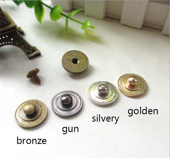 brass snap press button garment rivet studs with screws for bag, hat, shoe,leather chocker diy craft accessory